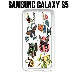 Teléfono Móvil mariposa flor para Samsung Galaxy S5blanco caucho (barcos de CA)