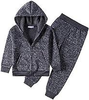 Monvecle Little to Big Boys' Long Sleeve Velour & Polar Fleece Zip Hoodie Tracksuit Top + Sweatpant Jo