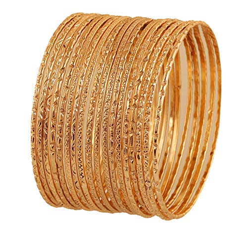 Jewelry Handcrafted Designer - Touchstone New Indian Bollywood Artistically Handcrafted Mesmerizing Hand Cut Charming Assorted Lovable Patterns Designer Jewelry Bracelets Bangle Set of 18 in Gold Tone for Women.