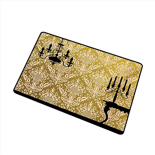 Antibacterial Doormat Damask English Country House Damask Motif on Wall and Chandelier Silhouettes Renaissance W20 xL31 Quick and Easy to Clean ()