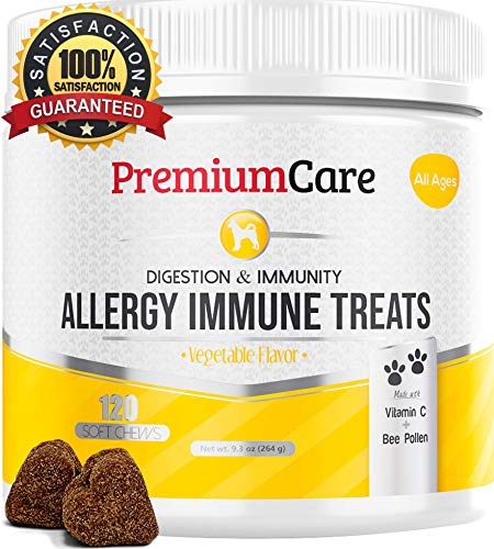 Allergy Relief Immune Supplement for Dogs - Treats Seasonal & Food Allergies, Skin Itch, Hot Spots and More - Promotes Skin & Coat, Improves Digestion, Enhances Gut Health - 120 Chew Treats