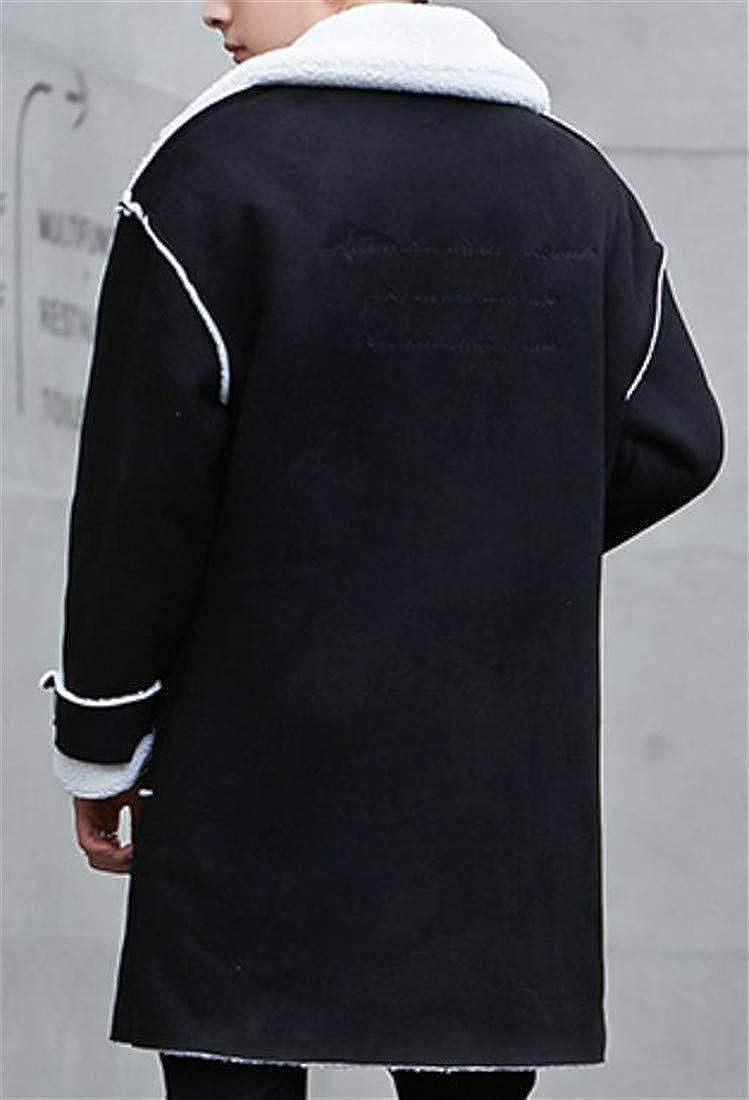Sweatwater Men Winter Thicken Single Breasted Long Jacket Sherpa Lined Parka Coat