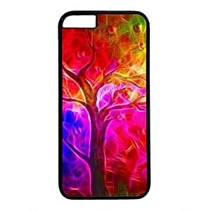 Hard Back Cover Case for iphone 6 Plus,Cool Fashion Black PC Shell Skin for iphone 6 Plus with Rainbow Tree