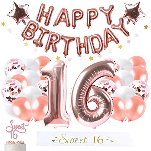16st Rose gold Birthday Party Decorations Supplies, Pearl latex balloon, Confetti balloons, Garland star, Happy birthday balloon, Foil star balloon, Gold sash,cake