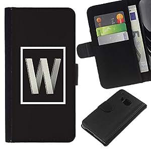 KLONGSHOP // Tirón de la caja Cartera de cuero con ranuras para tarjetas - carta internet w gris inicial cartel - HTC One M7 //