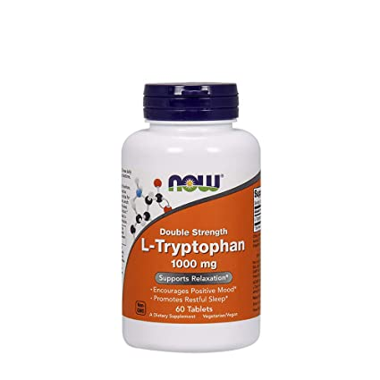 Now Foods L-Tryptophan, Double Strength 1000 mg 60 tablets
