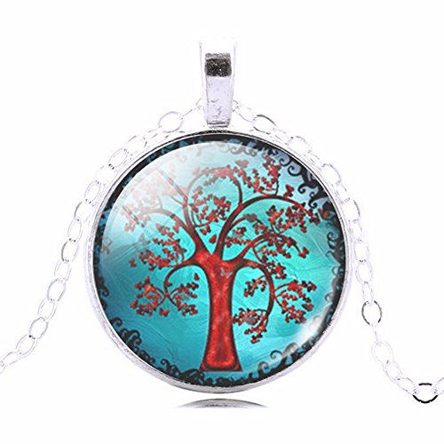 Magical Blue Sky Red Tree Glass Cabochon Abstract Art Picture Round Pendant Necklace, 20 - 22 - Sillouette Glasses