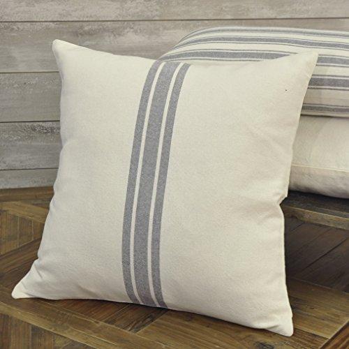 Piper Classics Market Place Gray Grain Sack Ticking Stripe Pillow Cover, 20