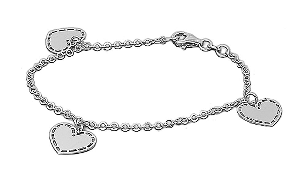 Sterling Silver (.925) Italian Charm Bracelet with Hearts - Length: 7.5'' - Italian Design
