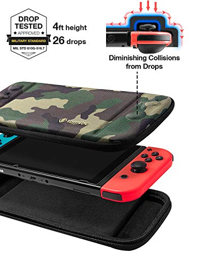 tomtoc Carry Case for Nintendo Switch, Ultra Slim Hard Shell with 10 Game Cartridges, Protective Carrying Case for Travel, with Original Patent and Military Level Protection, Camouflage