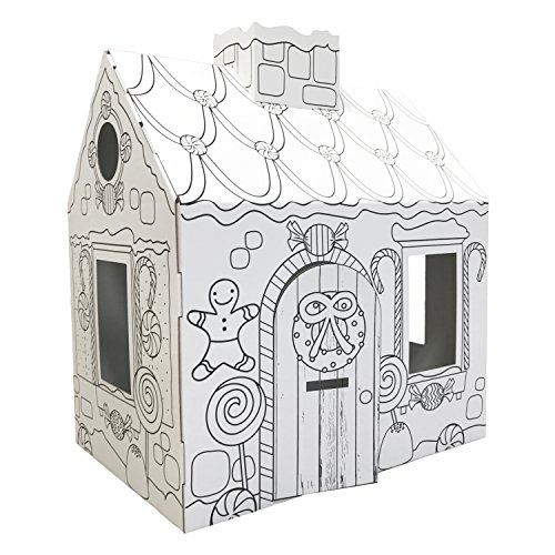 FunDeco FD0035 Gingerbread Playhouse, White