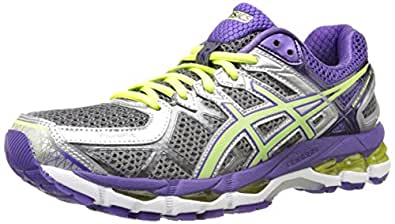 ASICS Women's Gel-Kayano 21 Running Shoe,Charcoal/Sharp Green/Purple,5 M US
