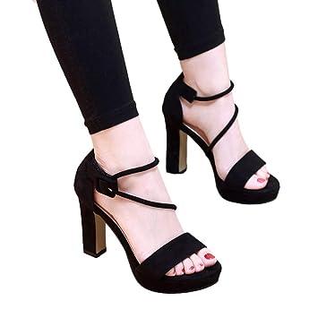 e1c32ea8baa SANDALIAS Tacones Negros De Mujer Tacón Grueso Plataforma Impermeable De  Velcro con Punta Abierta Tacones Altos 10 CM Zapatos para Mujer (Color    Negro