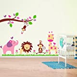 Walplus Wall Stickers Huge Elephant Fuloon Jungle Animals Removable Self-Adhesive Mural Art Decals Vinyl Home Decoration DIY Living Bedroom Office Décor Wallpaper Kids Room Gift, Multi-colour