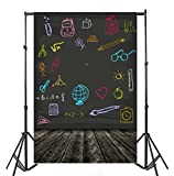 Leyiyi 4x6ft Photography Backgroud Grunge Graffiti Blackboard Backdrop Vintage Wooden Floor Classroom Interior Shool Season Preschool Primary Backpack Books Photo Portrait Vinyl Studio Video Prop