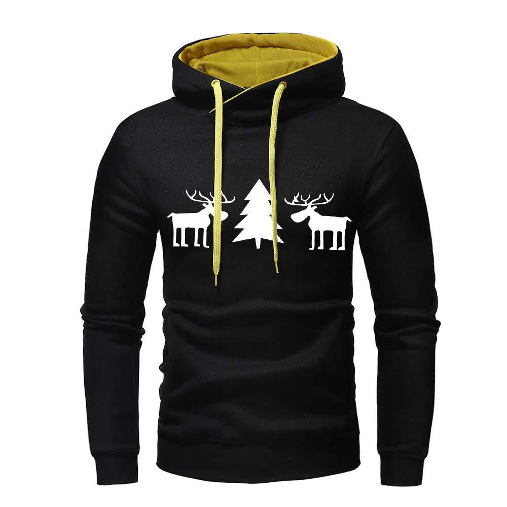 Men Christmas Autumn Winter Pullover Hoodie Top Printed Sweatshirt Outwear Blouse