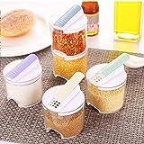 Clear Seasoning Spice Pots Set of 5 Durable Plastic Seasoning BoxKitchen Storage Container Jar