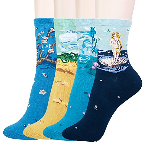 KONY Women's Cotton Art Patterned Novelty Casual Socks, Famous Paintings Fashion Socks Gifts - Women's Size 6-9 (Artist Socks - 4 - Cotton Art