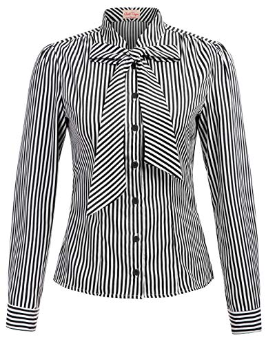 Tie Neck Black Stripe Blouse with Bow Large, Black Stripe(Long Sleeve) (White And Black Striped Long Sleeve Dress)