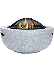Fire Pit with BBQ Grill Shelf, Round Wood Burning Fire Pit, Outdoor Garden Heaters with Grill Grate, for Camping/Heating/Bonfire And Picnic