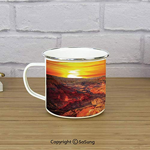 House Decor Enamel Coffee Mug,Horizon Overview Unique Grand Canyon Photo Saturated with Warm Color Effects Sunset,11 oz Practical Cup for Kitchen, Campfire, Home, TravelOrange