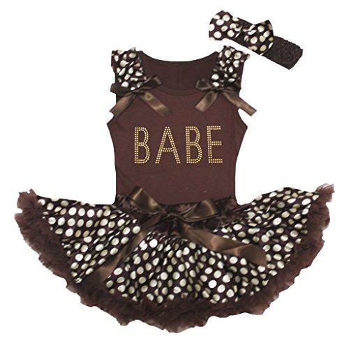 brown and beige polka dot dress - 9