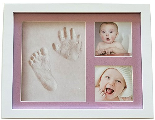 Baby or Pet Clay Imprint Kit by Veahma Baby! Picture Frame (PINK) Mat Non Toxic CLAY! Hand|Footprint Kit, Great baby shower gifts for Newborn Baby Boy, Girl, Pet, Parents! NEWEST NO MOLD VERSION!