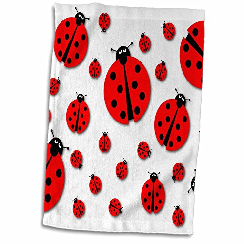 3D Rose Many Different Sized Ladybugs On White Background Hand Towel, 15