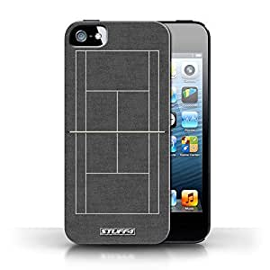 KOBALT? Protective Hard Back Phone Case / Cover for Apple iPhone 5/5S | Grey Hard Court Design | Tennis Courts Collection