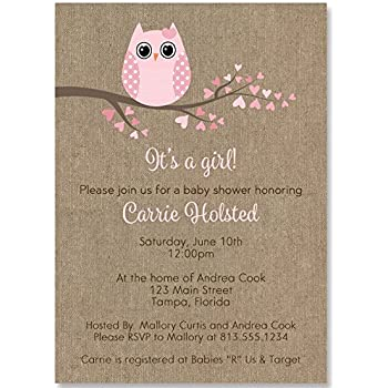 Amazon Owl Baby Shower Invitations Burlap Rustic Cottage