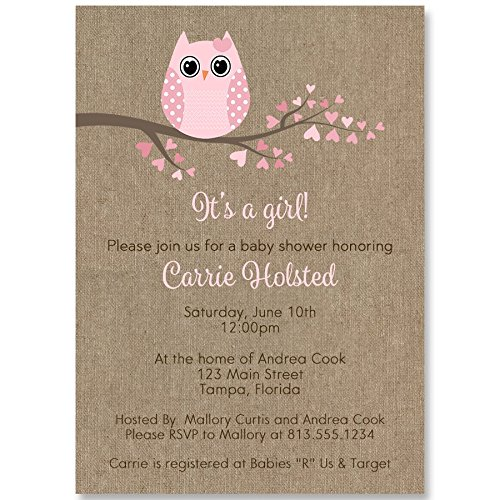 owl baby shower invitations burlap rustic cottage chic baby girl feather their nest pink personalized customized 10 printed invites and envelopes