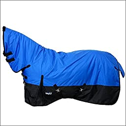 TOUGH-1 600D WATERPROOF POLY FULL NECK TURNOUT HORSE COLD WINTER BLANKET 250GSM BLUE BLACK 69-84 Inch