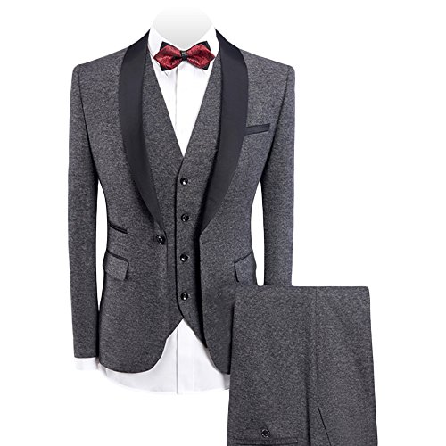 WEEN CHARM Men's 3-Pieces Suit Slim Fit Shawl Lapel One Button Vested Dress Suit Set Blazer Jacket Pants Tux Vest - Fashion 3 Piece Suit