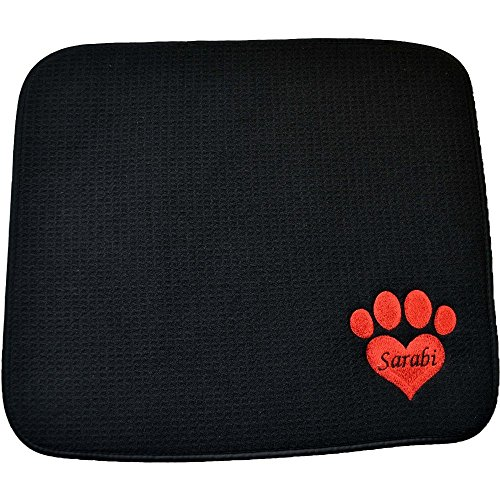Personalized Pet Feeding Mat, EMBROIDERED Pet Placemat, Cat Litter Mat, Dog, Cat, Pet Supplies, 18'' X 16'' Machine Wash/Dry, Durable, Three Toned Embroidery Heart Paw Print, CLASSY by Embroidery Hut