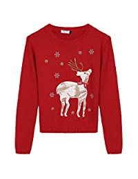 Arshiner Christmas Cute Deer Sweater Girls Knitted Sweatshirts Pullover 8-12 Years