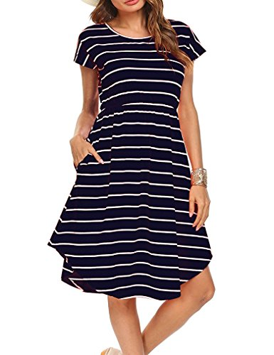 Qearal Women Summer Short Sleeve Striped Loose Swing T-Shirt Midi Dress with Pockets (Dark Blue, XL) Blue Striped Cotton Dress Shirt