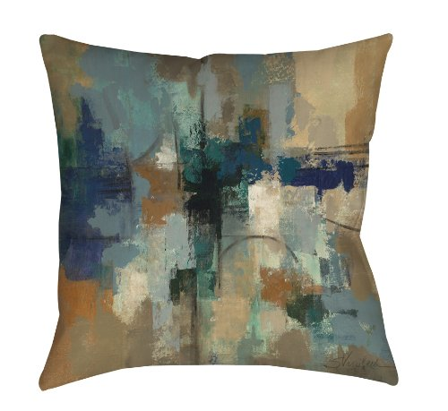 Manual Woodworkers & Weavers Square Throw Pillow, 18-Inch, Jasper Lagoon - Reversible double-sided print throw pillow, polyester poplin material with recycled down alternative fill is easy to spot clean 18 x 18 Inches square; available in a variety of other sizes Made in the USA - living-room-soft-furnishings, living-room, decorative-pillows - 51cCCSmAPSL -