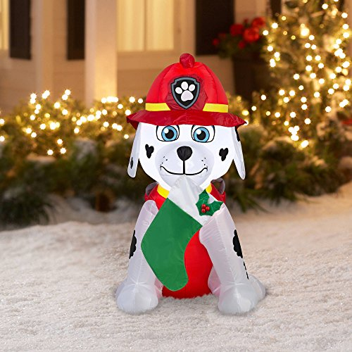 Paw Patrol Christmas Airblown Inflatable Marshall Holiday Decor 4Ft Tall (Air Blown Inflatables)