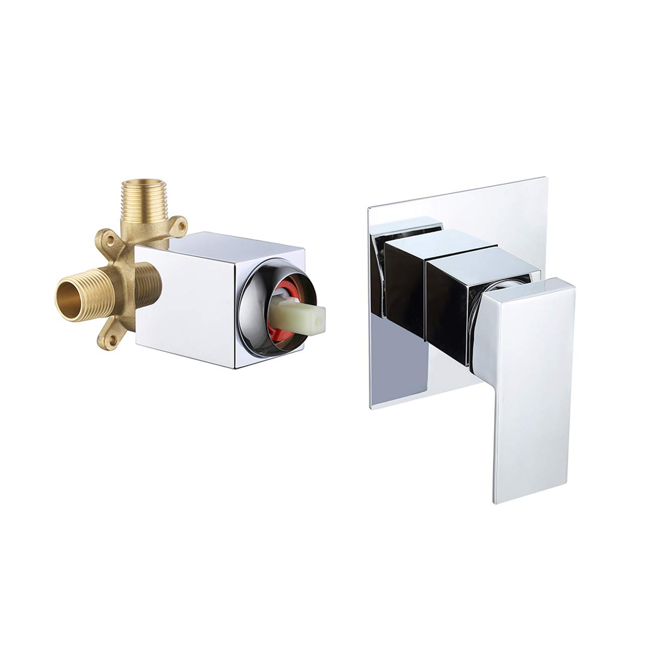 KES BRASS Shower Faucet Body Valve and SOLID Stainless Steel Trim Square Concealed Replacement for Bathroom Showering System, Polished Chrome L6711 by KES