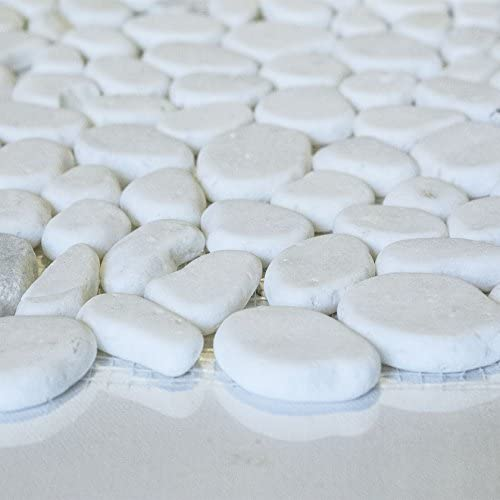 12X12 MM 9501 Sample Snow Mixed Rounds Marble Mosaic Tile 4x6 Tumbled River Rock Collection
