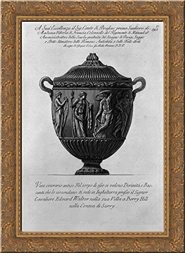 Urn vase with Bacchae and Divinity 20x24 Gold Ornate Wood Framed Canvas Art by Piranesi, Giovanni Battista