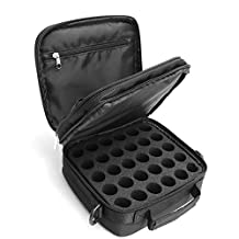 Essential Oil Carrying Case Bag,Hengker Portable Makeup Cosmetic Bag Travel Case Holds Fit 42 bottles of 10ml and 15ml Roller Bottle (Black)