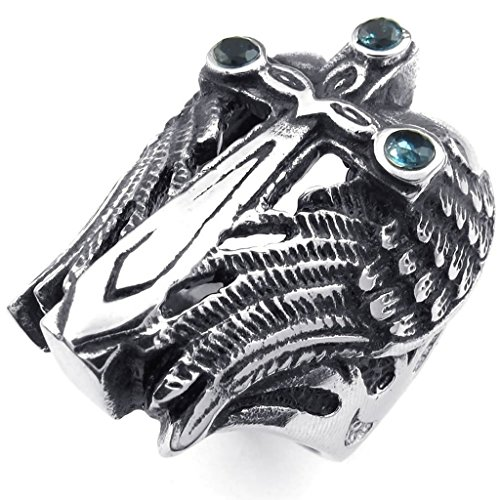 Bishilin-Stainless-Steel-Fashion-Mens-Rings-Angel-Wing-Cross-CZ-Ring