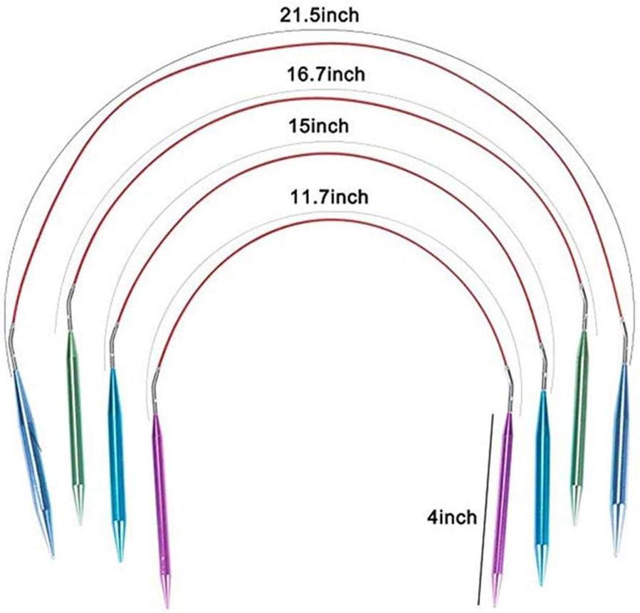 Simlug Juego de Agujas de Tejer Juegos de Agujas de Tejer Circulares de Aluminio Intercambiables