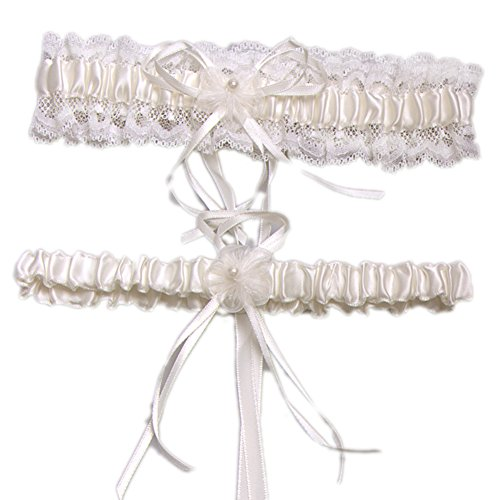 FloYoung Lace Ruffle Floral Pearl Wedding Garters with Toss Away Set of 2 Ivory