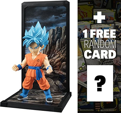 "Super Saiyan God SS Son Goku: ~3.5"" Dragonball Super x Tamashii Buddies Series + 1 FREE Official DragonBall Trading Card Bundle"