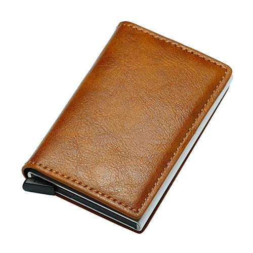Meiliwanju Credit Card Holder RFID Blocking Genuine Leather Vintage Aluminum Business Wallet ID Pocket and Additional Pockets for Cash or More Cards, ID Theft Protection Series (5 By 8 Index Card Actual Size)