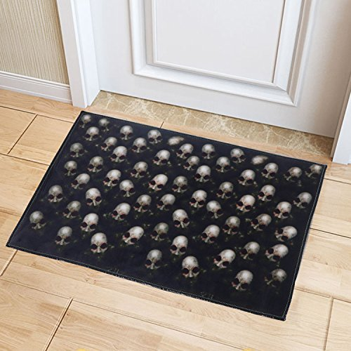 YJ.GWL Halloween Theme Indoor Outdoor Non-slip Skull Horror Mat Doormat,15.7
