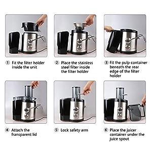 Aigostar MyFrappe Black 30IMX - Centrifuga ed Estrattore di Succo e verdura. Potenza 850W a bassa rumorosità. Semiprofessionale 1.25L. Acciaio Inox. BPA Assente. Design esclusivo - 2020 -