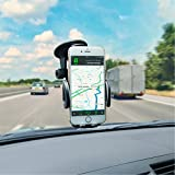 Amoner Car Phone Holder, Windshield Dashboard Cell Phone Holder Mount for Car with Strong Suction Cup for iPhone X 8 7 Se 6S 6 5S Samsung Galaxy S9 S8 S7 S6 HTC Nokia LG BlackBerry and More